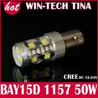 Free Shipping 1pcs/lot White 50W DC12-24V 1157 BAY15D 10*CREE XBD LED Car Tail Brake Stop Light Bulb Lamp LED Lighting