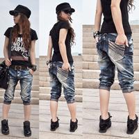 Baggies female jeans capris plus size ankle length trousers capris 7696