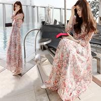 Floral chiffon dress put on a large Korean temperament ladies 2014 Summer Hot Spring