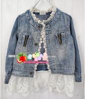2014 spring girls clothing o-neck quality white lace gauze water wash denim long-sleeve outerwear cardigan