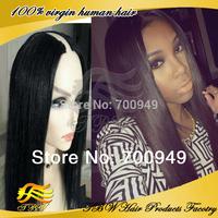 Wholesale Human Hair yaki U Part wig virgin malaysian human hair glueless straight upart Wigs 2*4 inch middle part free shipping