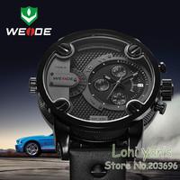 WEIDE Oversized XXL Army Military Men Leather Band Analog Sport Wrist Watch Free Ship