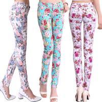 Women pants&capris multi- color skinny pants Floral print pants women pencil pants stretch jeans 2014 Korean