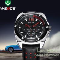 2014 New Weide Men Quartz Watches Genuine Leather Band Analog Sport Wrist Watch Free Ship