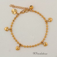 Wholesale 5 Pcs18K Yellow Gold Plated Small Heart Bell Bead Chain Charm Bracelet 8'' Womens Girls Jewelry Hot Gift New Arrival