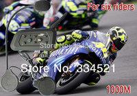 1000M Motorcycle helmet intercom Bluetooth Multi Intercom Headset connect 6 Riders high quality Promotion