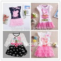 One Pcs!Peppa pig girl's dress baby girls pepe pig dresses children Fashion clothing Kids cartoon wear child girl cothes