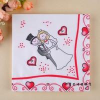 NP002 3 packs 60pcs Wedding Napkins Bride and Groom Color Napkin Paper 100% Virgin Wood Tissue for Party Wedding Decoration