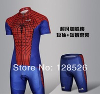 Hot Sale Marvel Sportswear 2014 New Spider man Heroes Men's  Cycling Sets Jersey Breathable Short Sleeve Clothing S-3XL Dropship