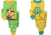 Retail Despicable ME Minion kids pajamas set 100% cotton children sleepwear unisex boys girls nightgown,christmas baby pjs 2T-7T