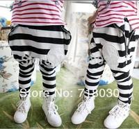 Spring and Autumn 2014 kids pants child Skull applique&big zipper harem pants boys' girls' 100% cotton casual pants&Trousers