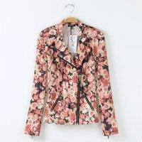 Girl fashion flower prints pockets turn-down collar zipper closure short jackets 233025