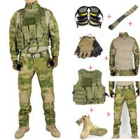 Men's Tactical Combat Airsoft Ranger Package of  7 PCS ( T shirt + Pants + Belt + Glove + Boots +Sunglasses + Vest ) ATAC FG