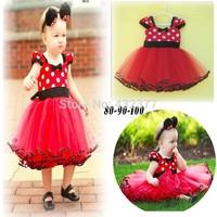Free shipping new 2014 Red christmas dressfor baby girls summer chiffon dress girls princess dress baby red dot party dress