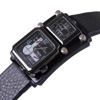 2014 high quality fashion rectangle pu leather band men sports casual watch Japan movement double dial quartz wristwatch