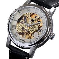 New genuine leather band men's business luxury mechanical watch casual business wristwatch hollow tourbillion golden movement