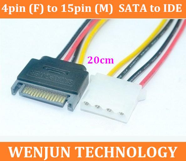 Wholesale SATA Power Cable 4pin (F) to 15pin (M) SATA to IDE hard drive cable 30PCS 4 pin to 15 pin SATA Power Cable(China (Mainland))