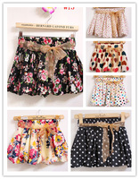 2014 summer floral printed girls chiffon skirt shorts hot pants with ribbon belt, women high waisted elastic waist bloomers