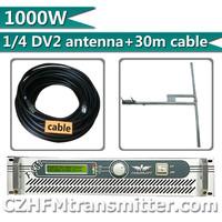 Fmuser 1000W 1KW  Fm transmitter+1/4 wave DV2 high gain  antenna +30meters feeding tube RF cable