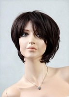 Free shipping 2014 New 100% kanekalon  short straight dark brown synthetic wig for black women