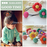 10pcs/lot children hair accessories double button colorful flowers hairband for girls
