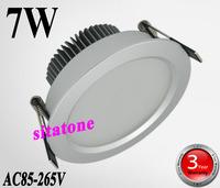 100 PCS / lot FEDEX free shipping sale ac85-265v 7W led  down light,SMD5730 7W led ceiling light 3 years warranty