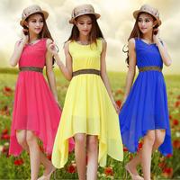 2014 New  women's summer Dress solid color chiffon Dress sexy  sleeveless  party dress