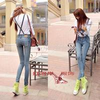 Free shipping 2014 Autumn women's bib pants denim overalls pants slim romper women elastic personalized jeans jumpsuit