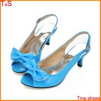 Big Size 34-46 women's sexy peep toe low heel sandals bowknot slingbacks pumps women summer shoes Large size 15 A-09