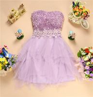 Vestidos Formatura New beading  three-dimensional flower short design formal dress the Above Knee Mini dress evening dress