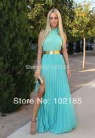Free Shipping Halter Mint Green Prom Dress With Metal Gold Belt Side Slit Graduation Dress Pleated Chiffon Prom Dress X10