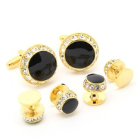 Gold and Rhinestone Cufflinks Tuxedo Stud Sets- Free shipping! AB0354