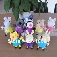 8PCS/LOT,19CM,Baby Toy,Stuffed Plush Peppa Pig Friends,Kids Gifts,,Free Drop Shipping,Wholesale