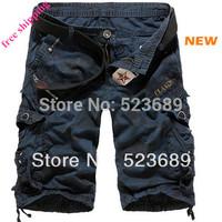 Free Shipping  New 2014 Fashion Summer loose casual camouflage cargo shorts Large yard fifth multi-pocket Men Shorts
