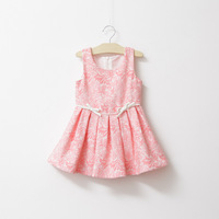 girls kids sleeveless lace sundress with bows,children princess dresses 2-8 years