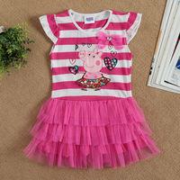 New 2014 children clothing baby girls dress child kids Stripe princess dresses girls cartoon clothes Z202#