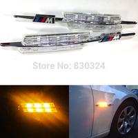 M3 STYLE FENDER LED SIDE MARKER LIGHTS CHROME for BMW 1/3/5-SERIES  E90/E92/E60/E82