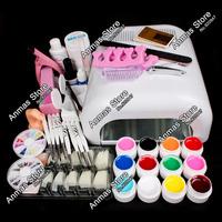 New Pro 36W UV GEL White Lamp & 12 Color UV Gel Nail Art Tools  Sets Kits