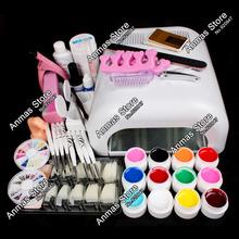 New Pro 36W UV GEL White Lamp & 12 Color UV Gel Nail Art Tools  Sets Kits(China (Mainland))