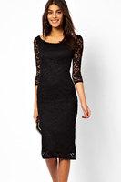 New 2015 Pretty Lady Black Lace Overlay Half-sleeves Midi Dress LC6287 Elegant Dresses Women Clothes Celebrity Party Vestidos