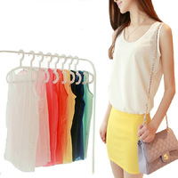 C-085 New 2014 Candy Color Chiffon Blouse Vest Solid Loose Fashion Women's Tank Tops For Summer Sleeveless Base Camisole