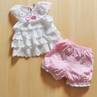 New Summer 2014 Cotton Bowknot New Born Baby Girl Dress Set 2 PCSFlower Princess Infant Girls Costume Free Shipping