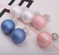 2014 New fashion paragraph two side dull polish pearl cc earrings double side crystal pearl earrings women accessories S0556