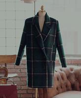 2014 new spring women's fashion korea style vintage green plaid sheep trophonema wool coat female woolen outerwear P1