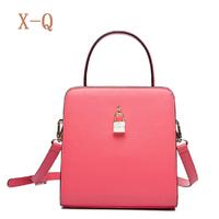 2014 women's handbag vintage brief crystal lock leather bag portable messenger bag