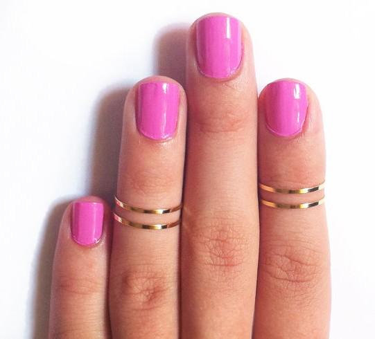 4 pcs set Punk Gold Thin Plain Chic Simple Band Knuckle Ring The Midi Ring Fashion