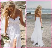 Impresionante Boho Vintage White Beach Low Back vestidos de novia vestidos de gasa soñadora spaghtti correas de hendidura corto de encaje en delantero(China (Mainland))
