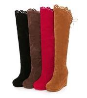new2014winter boots advanced nubuck leather high platform wedges knee-length boots botas boot women botas shoes mujeres feminina