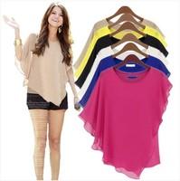 S-4XL plus size Ladies Summer Chiffon Blouses & shirts blusas, Bat Sleeve blousas shirts,9 color fashion vestidos casual shirts
