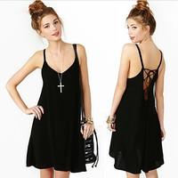 2015 women sexy spaghetti strap chiffon dress,plus size S- 4XL black red casual dress,fashion vestidos backless party dress